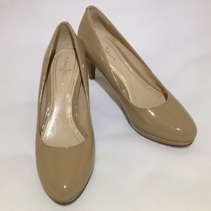 """Cole Haan Nike Air 2.5"""" nude patent pumps"""